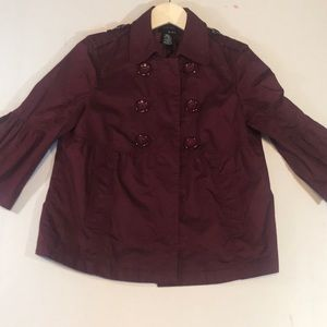 Mixit Burgundy Short Open Front Jacket